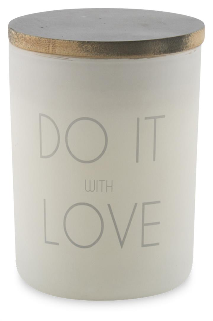 Image of Do It With Love Frosted Glass Candle with Wax