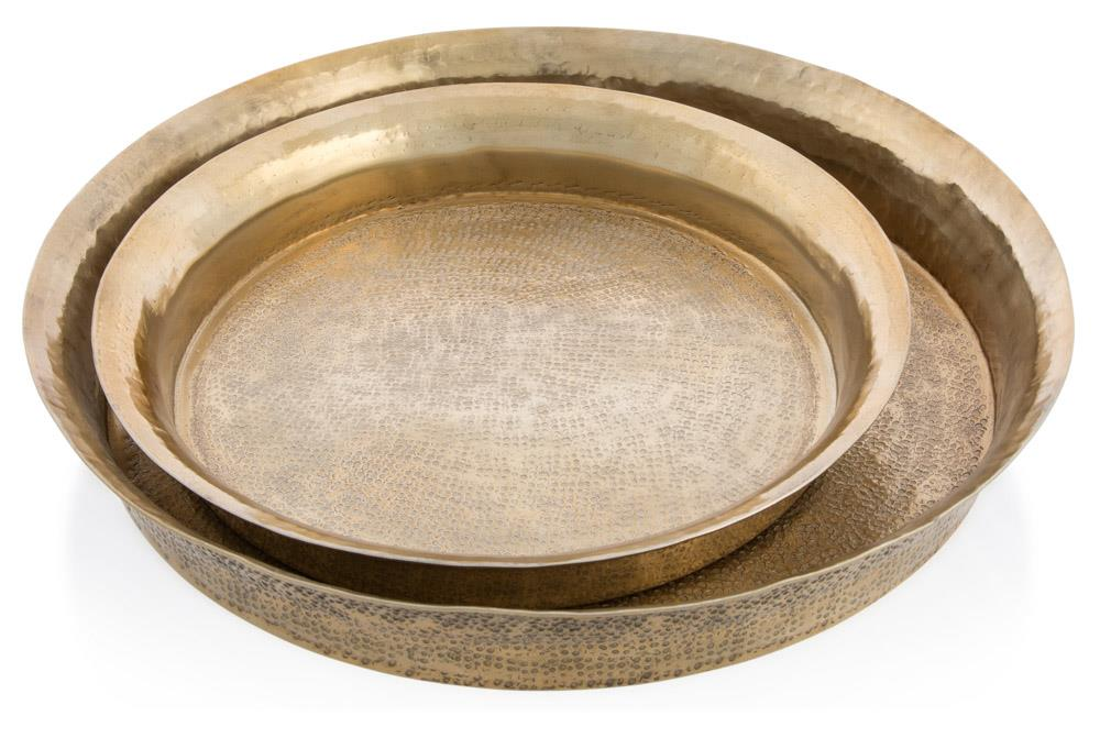 Image of Set Of 2 Round Gold Trays