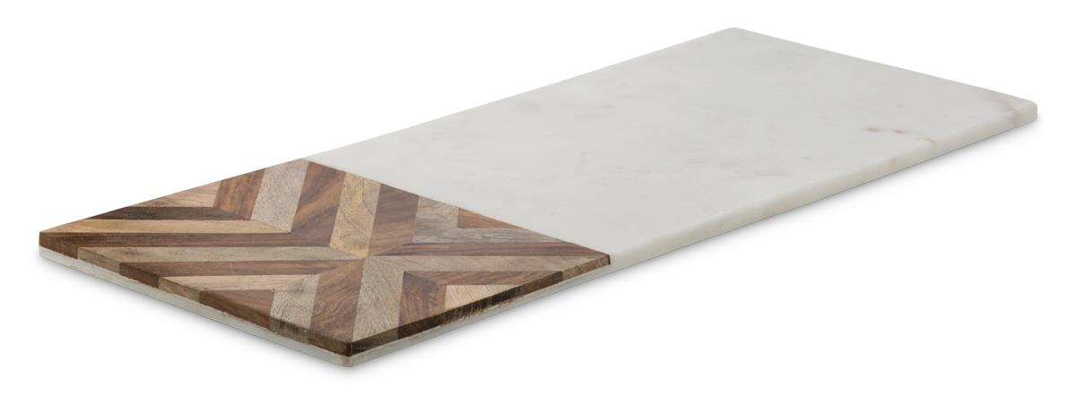 Image of Chevron Detailed Rectangular Wood and Marble Cheese Board