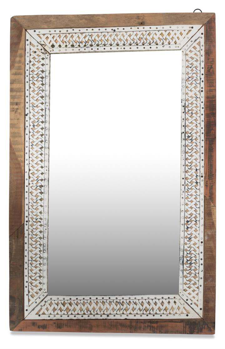 Image of Rectangular Wall Mirror, Wood and Distressed White Iron