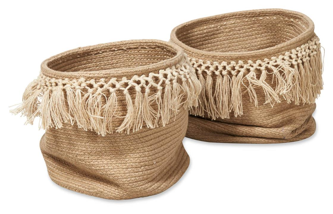 Image of Set of 2 Braided Jute Baskets with Fringes - Natural