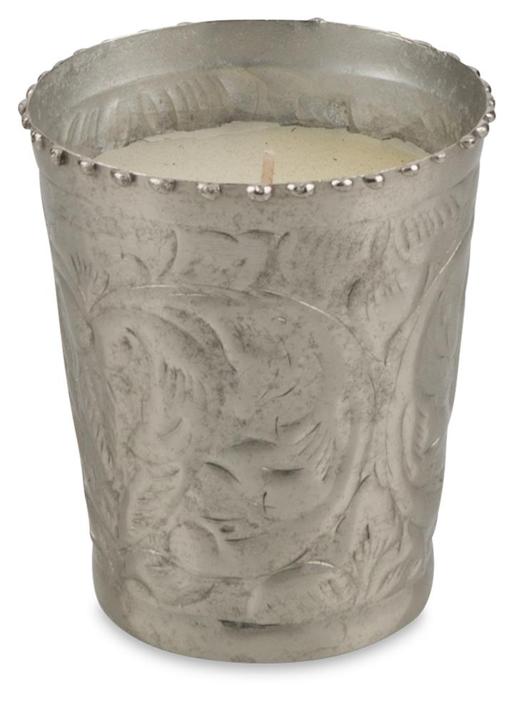 Image of Sahil Single Wick Small Vanilla Scented Paraffin Wax Candle in Polished Silver Metal Votive