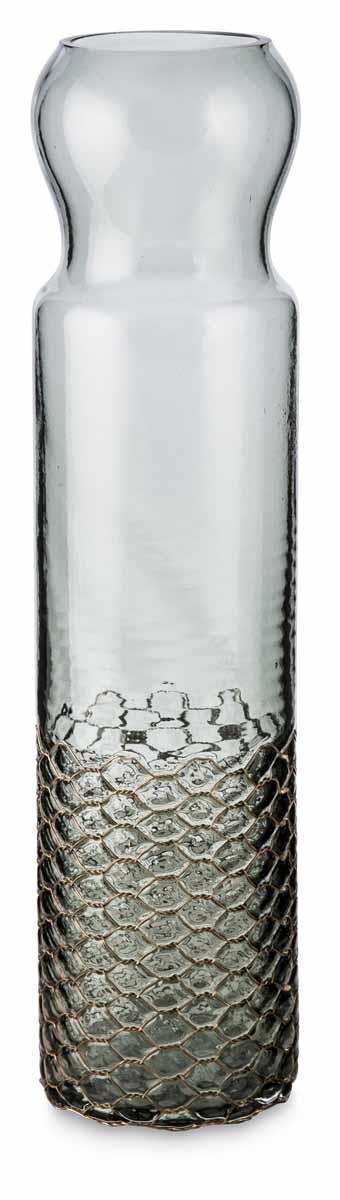 Image of Cylindrical Glass Vase with Copper Net