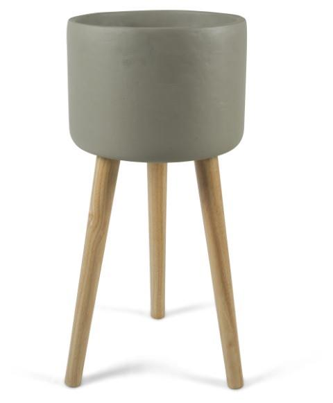 Image of Concrete Tall Planter on Stilts Medium - Grey