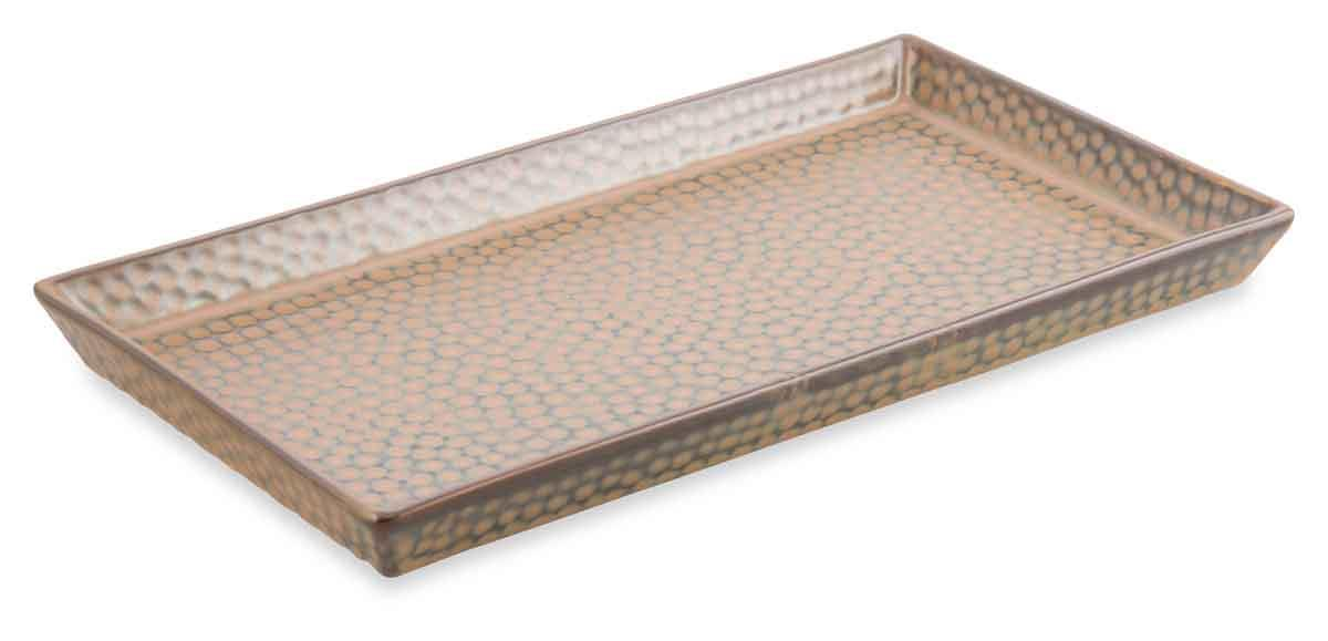 Image of Porcelain Dimple Large Rectangular Plate - Reactive Brown