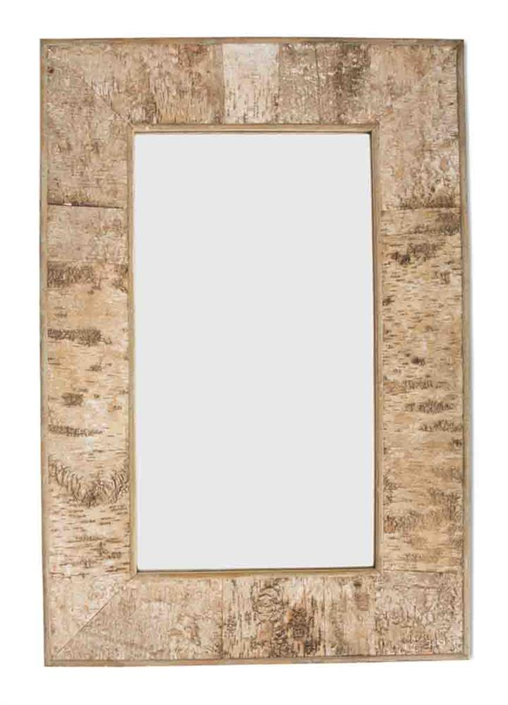 Image of Rectangular Birch Bark Wooden Mirror Large
