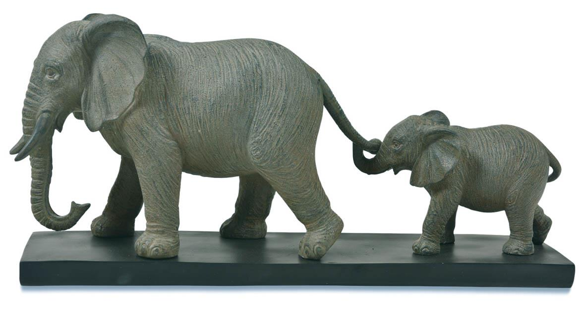 Image of Resin Elephant Mother And Baby - Grey/Black