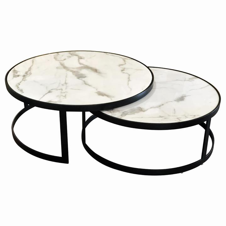 Image of Glory Coffee Table Set White Marble