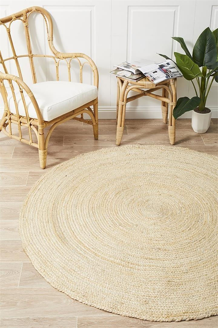 Image of Round Jute Natural Rug Bleached 120x120cm