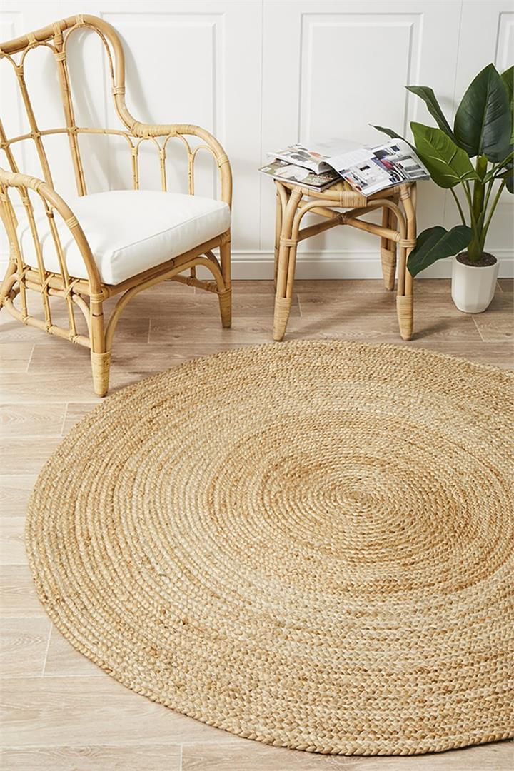 Image of Round Jute Natural Rug 120x120cm