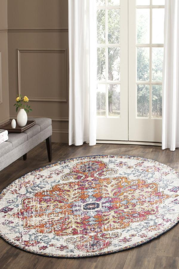 Image of Carnival White Transitional Rug 150x150cm