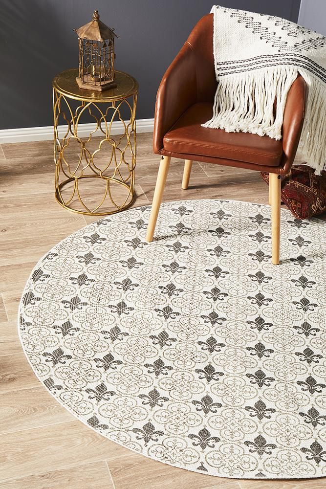 Image of Lunar Braided Cotton Fleur de lis Off White Round Rug 150x150cm