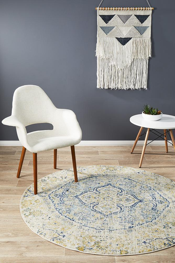 Image of Museum Tyler Sky Blue Round Rug 150X150