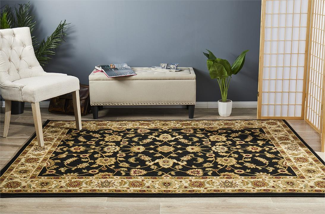 Image of Classic Rug Black with Ivory Border 170x120cm