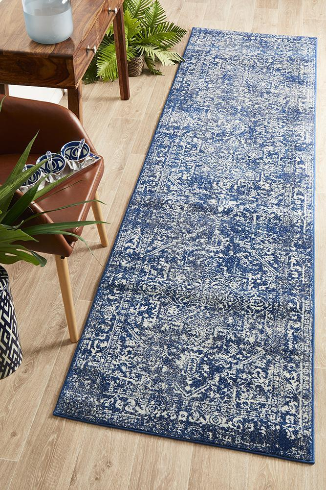 Image of Contrast Navy Transitional Rug 300x80cm