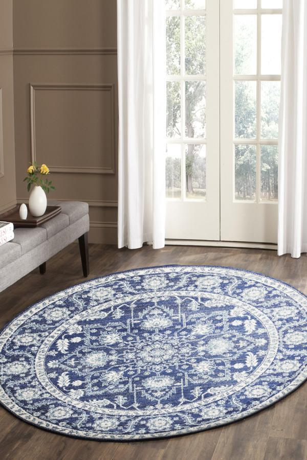 Image of Release Navy Transitional Round Rug 200x200cm