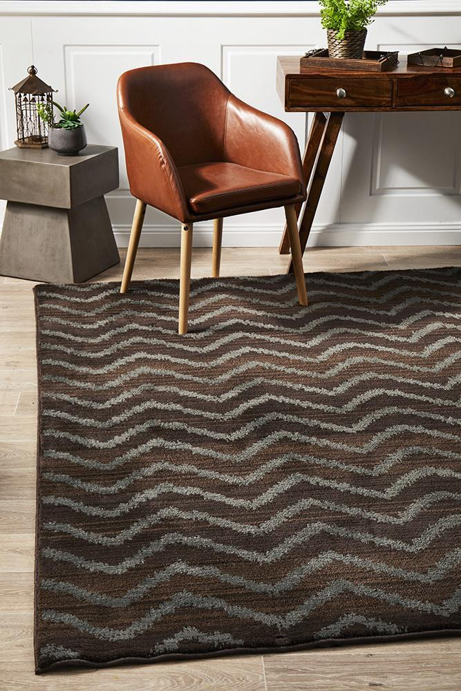 Image of Morrocan Chevron Design Rug Brown Grey 230x160cm
