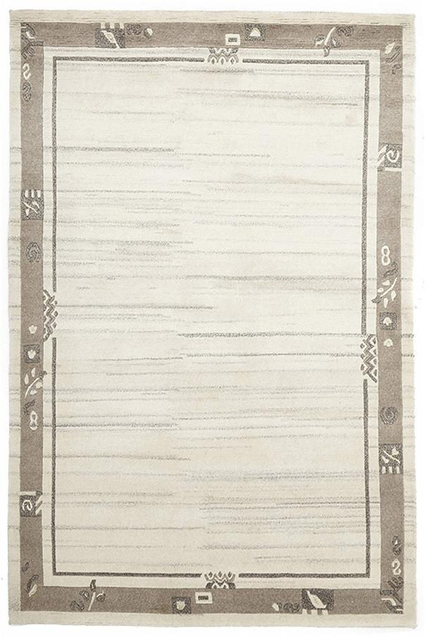 Image of Hand Woven Woollen Rug, Ivory and Stone 225x155cm
