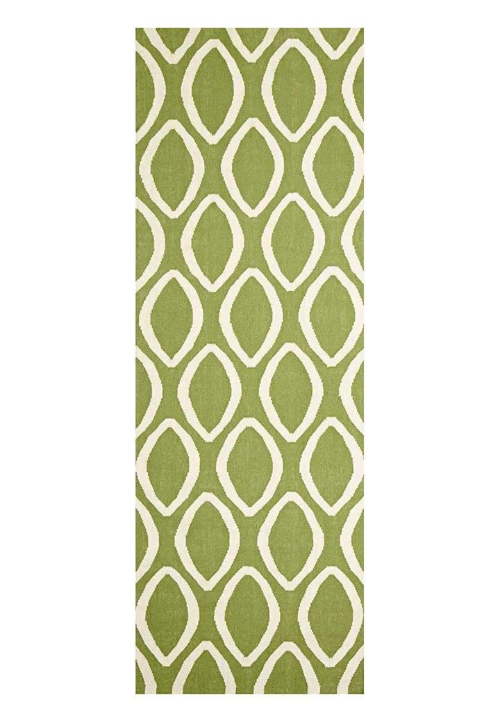 Image of Flat Weave Oval Print Rug Green 300x80cm
