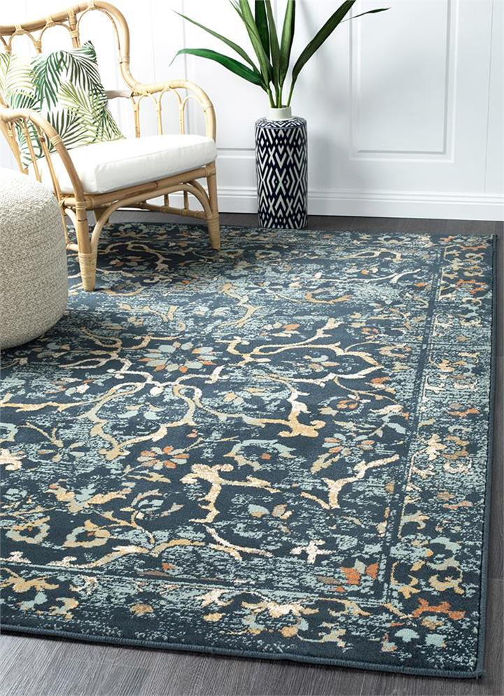 Image of Mayfair Stem Navy Rug 230X160cm
