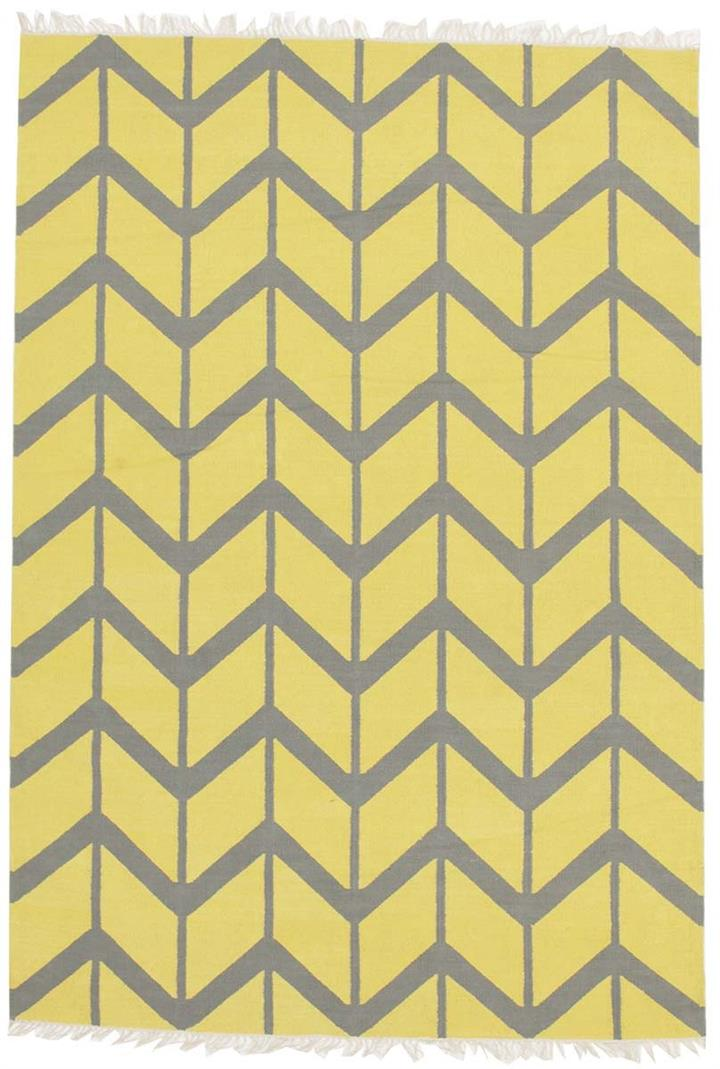 Image of Fantasy Firefly Yellow Chevron Sunny Handmade Wool Rug 225x155cm