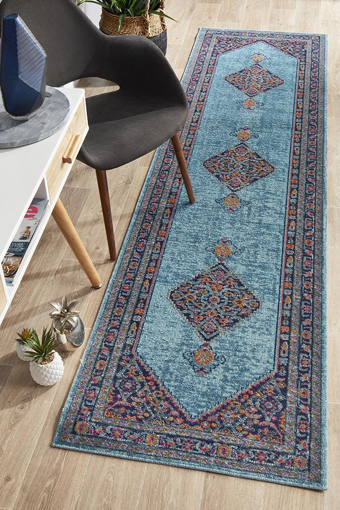 Image of Whisper Diamond Blue Runner Rug 400X80cm