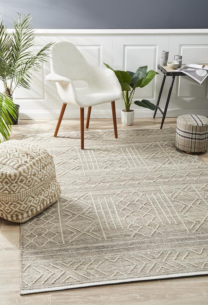 Image of Arya Stitch Woven Rug Natural 280x190cm