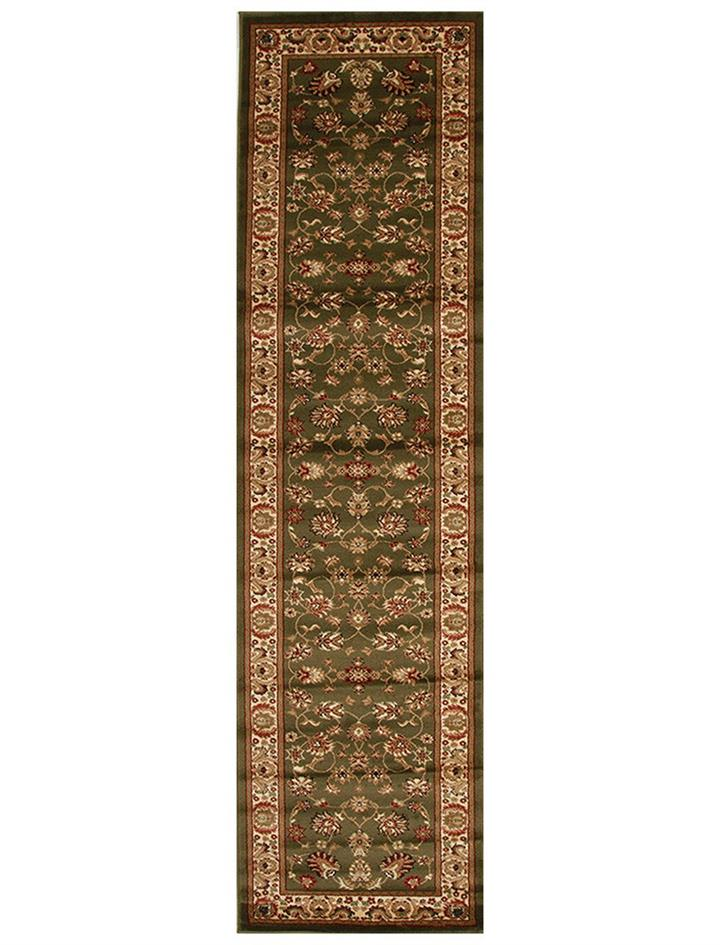 Image of Traditional Floral Pattern Runner Green 400x80cm
