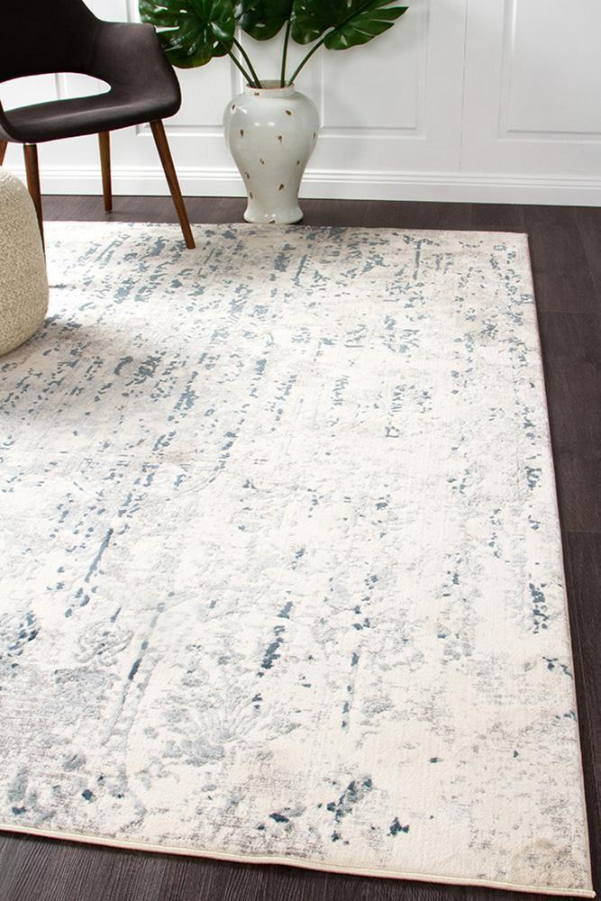 Image of Farah Distressed Contemporary Rug White Blue Grey 290X200cm