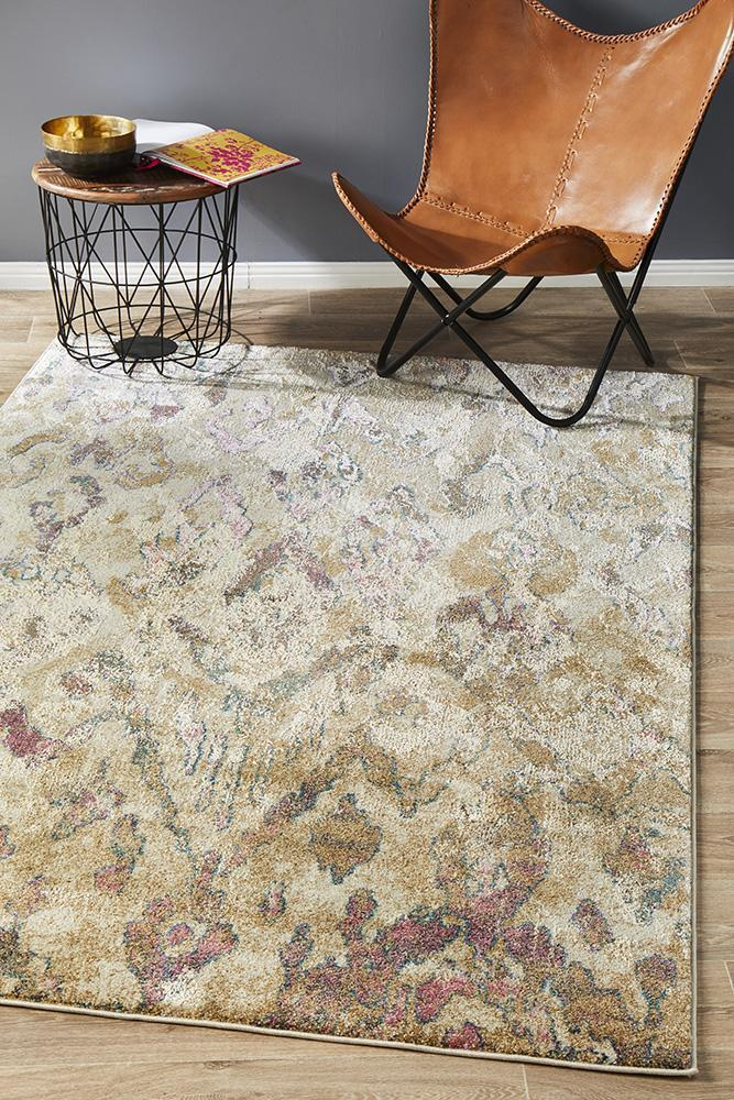 Image of Kaitlin Soft Pink and Beige Rug 290x200cm