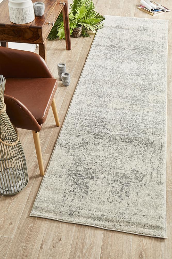 Image of Dream White Silver Transitional Rug 500x80cm