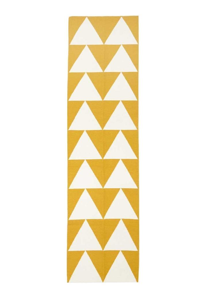 Image of Pyramid Flat Weave Rug Yellow 400x80cm