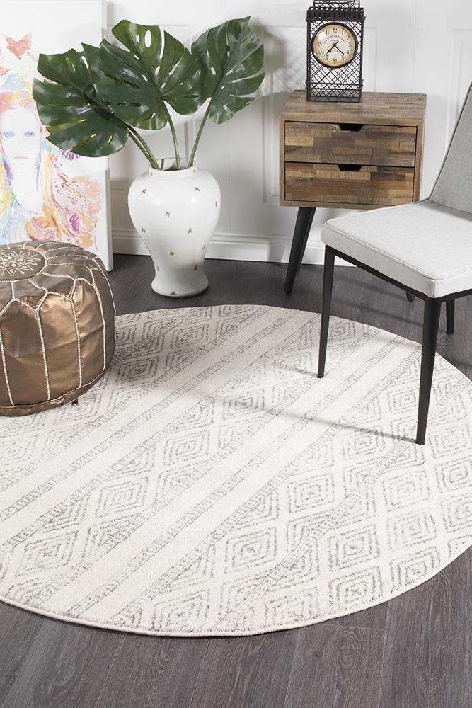 Image of Salma White And Grey Tribal Round Rug 240x240cm