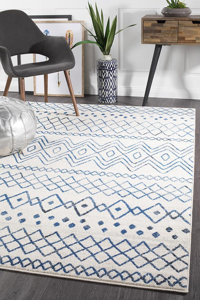 Image of Nadia White Blue Rustic Tribal Rug 290x200cm