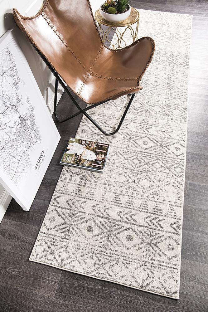 Image of Ismail White Grey Rustic Runner Rug 400x80cm