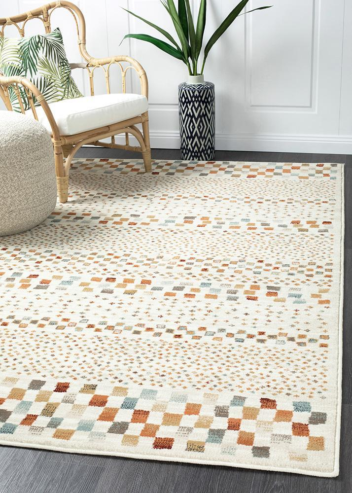 Image of Mayfair Squares Bone Runner Rug 400X80cm