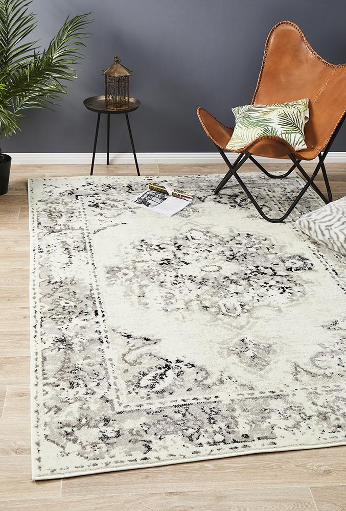 Image of Alexa Transitional Rug White Grey Black 330x240cm