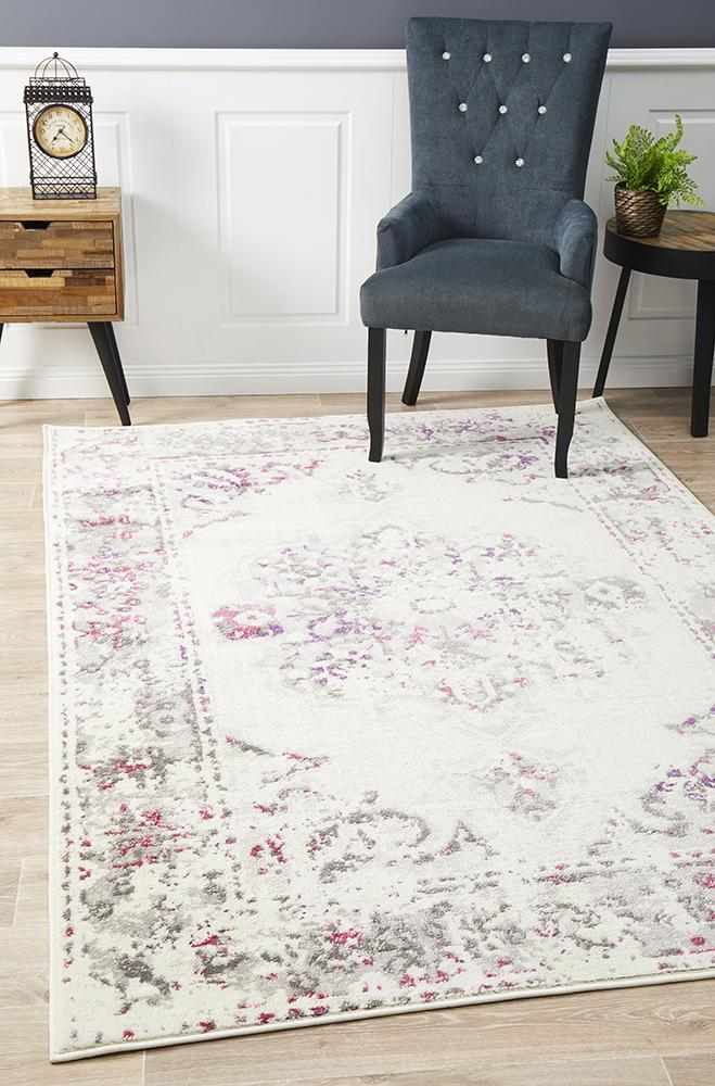 Image of Alexa Transitional Rug White Pink Grey 400x300cm