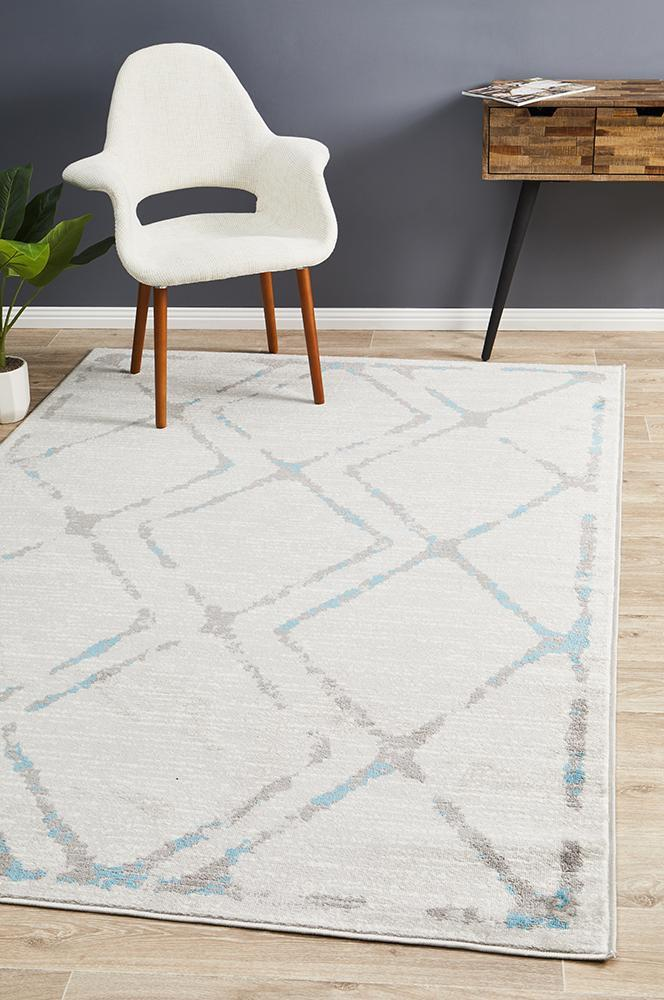 Image of Kendall Contemporary Diamond Rug Grey Blue 330x240cm