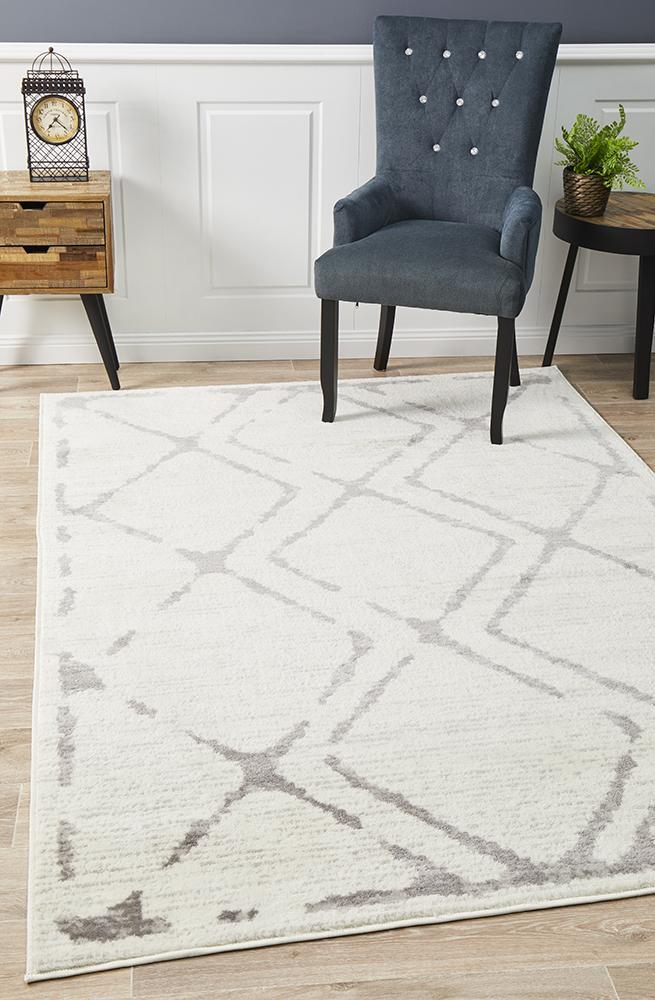 Image of Kendall Contemporary Diamond Rug White Grey 330x240cm