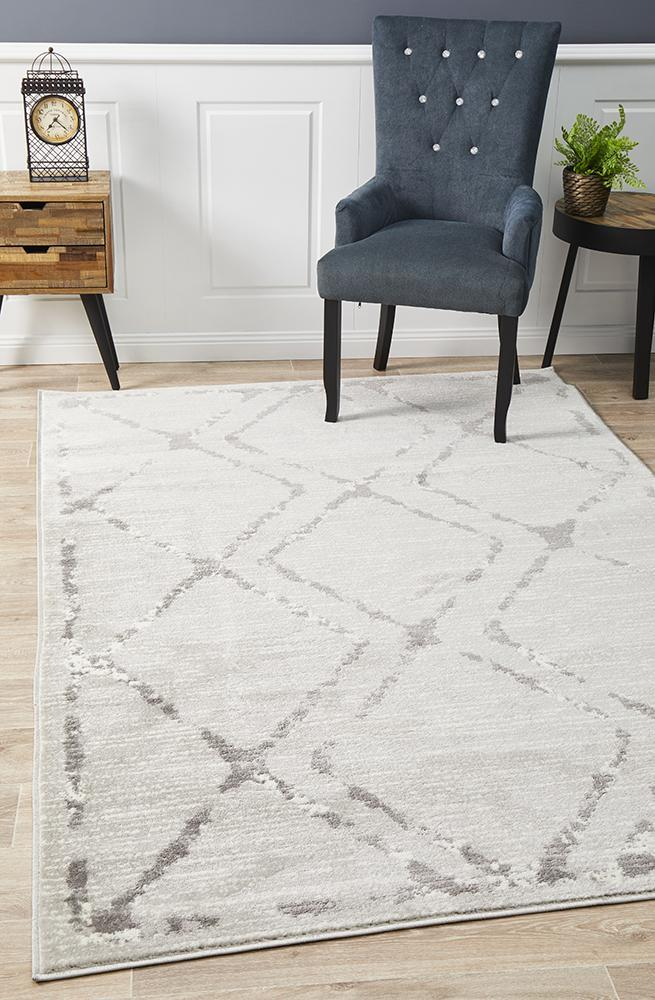 Image of Kendall Contemporary Diamond Rug Silver Grey 330x240cm