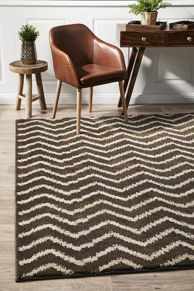 Image of Morrocan Chevron Design Rug Brown Beige 330x240cm