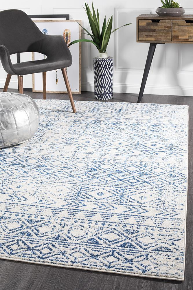 Image of Ismail White Blue Rustic Rug 330x240cm