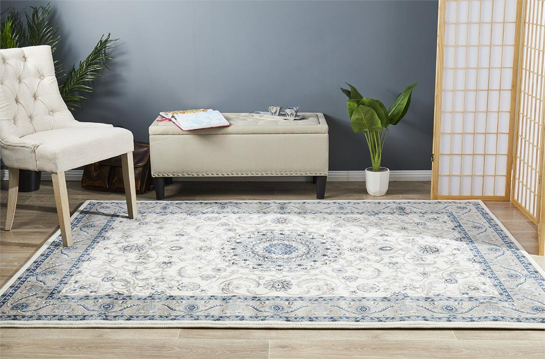 Image of Medallion Rug White with Beige Border 400x300cm
