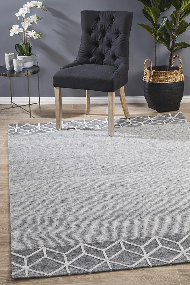 Image of Winter Grey Pulse Modern Rug 320X230cm
