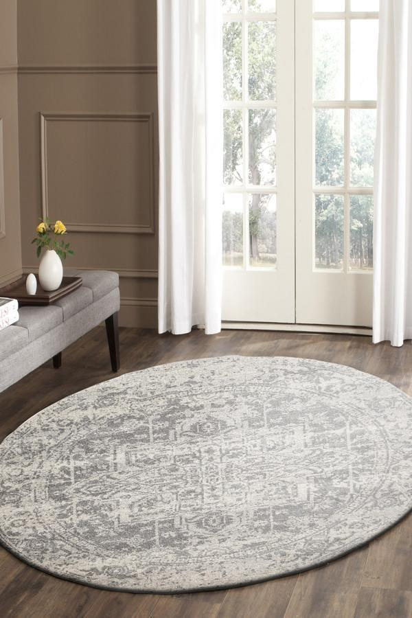 Dream White Silver Transitional Rug 240x240cm
