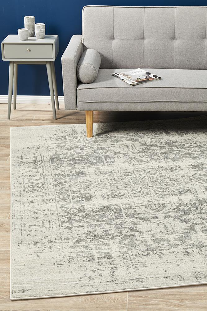 Image of Dream White Silver Transitional Rug 330x240cm