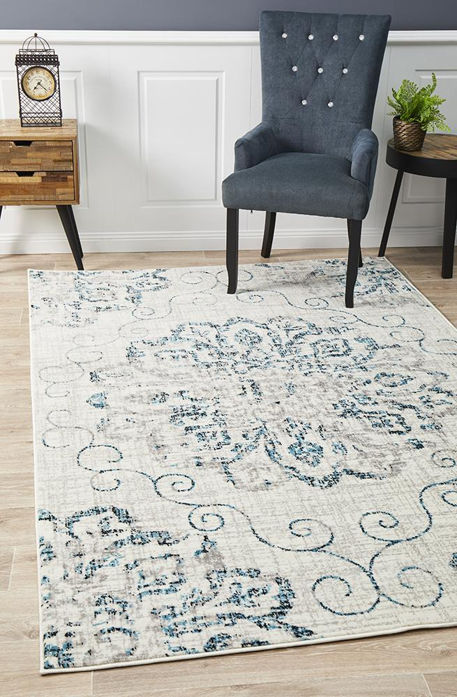 Image of Giselle Transitional Rug Blue Grey 400x300cm