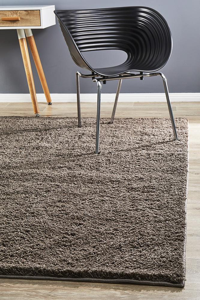 Texture Shag Rug Dark Brown 320x230cm
