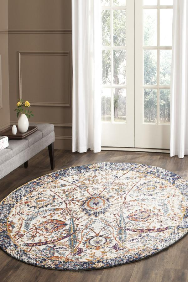 Peacock Ivory Transitional Rug 200x200cm